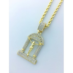 Iced Out Crucifix Pendant Necklace