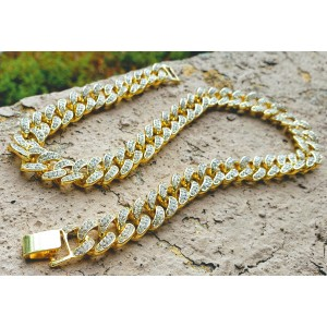 CZ Diamond Cuban Link Chain Necklace