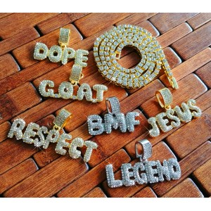 Iced Out Bubble Word Phrase Pendant Necklace