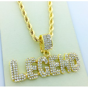 "Iced Out Bubble Word ""LEGEND"" Pendant Necklace"