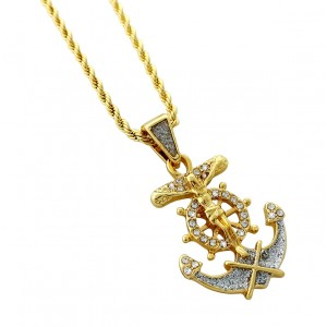 Iced Out Crucifix Anchor Pendant Necklace