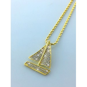 Iced Out Sailing Yacht Pendant Necklace