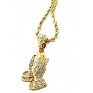 Iced Out Praying Hands Pendant Necklace