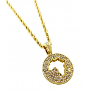 Iced Out Africa Pendant Necklace