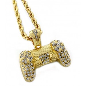 Iced Out Video Game Controller Pendant Necklace