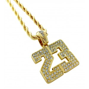 Iced Out Number 23 Pendant Necklace