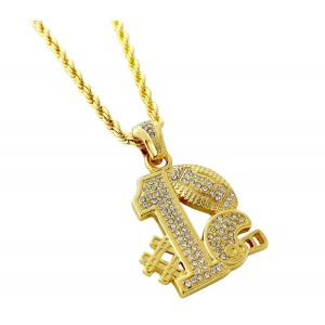 Iced Out #1 Football Team Pendant Necklace